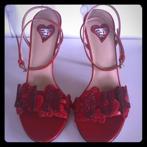 NEW Valentino L'Amour red crystals stilettos 39